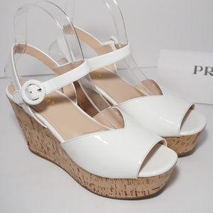 PRADA Cork Wedge Platform White Patent Sandals